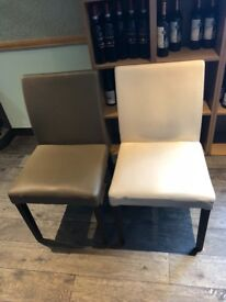 Used 44 restaurant leather dining chairs, 3 bar stools, 4 armchairs. Very good condition, job lot