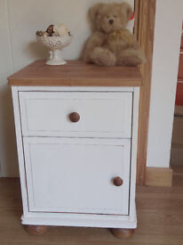 Pine and white cottage style bedside cabinet