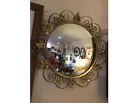 Lovely Rare Antique Convex Glass Round Mirror with Ornate Gilt Frame