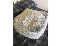Grey faux fur beanbag