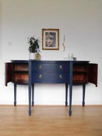 Large navy blue hand painted sideboard