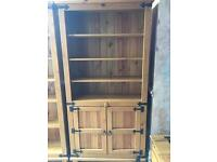 Solid wood bookcase with cupboard