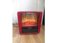 Dimplex heater, red Dimplex mini cube coal effect heater, micro fire