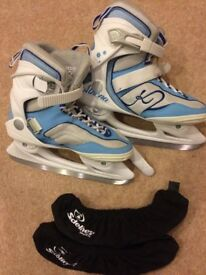 Ladies Ice Skates + blade overcovers UK size 5.5 EUR39 with Soft boot (like new)