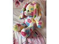 BUILD A BEAR BRIGHT FLOWER PATTERNED BUNNY