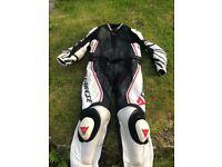 Dianese motorbike full leathers, white and black