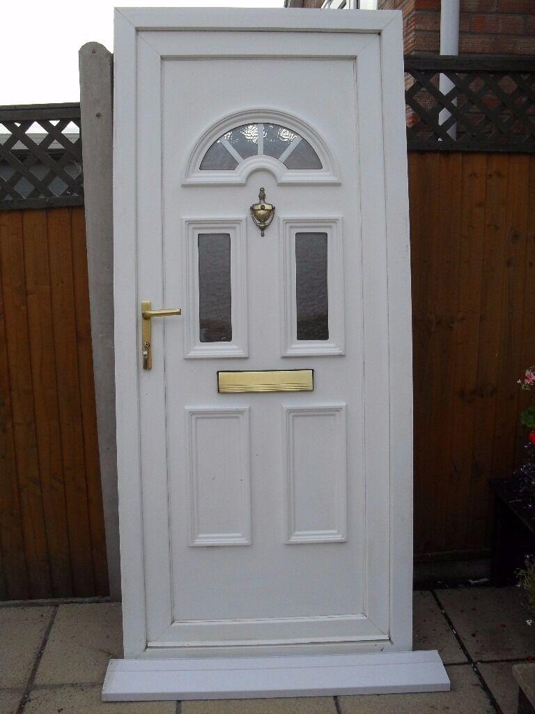 Attractive White Upvc Double Glazed Front Door C W Georgian Bar Sunburst Arch In Norwich