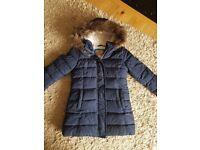 Girls navy coat mini boden 4-5