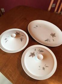 Royal Doulton Tumbling Leaves China Lidded Vegetable Tureens (x 2) and Oval Platter