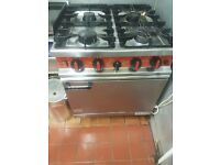 Commercial gas 4 burner oven and hob