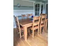 Solid Oak & Leather Cushion Dining Chairs