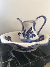 Antique Victorian Style Jug & Wash Bowl