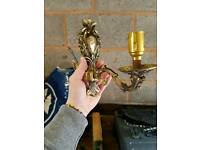 VINTAGE BRASS FRENCH ROCOCO ANTIQUE STYLE SINGLE WALL LIGHTS