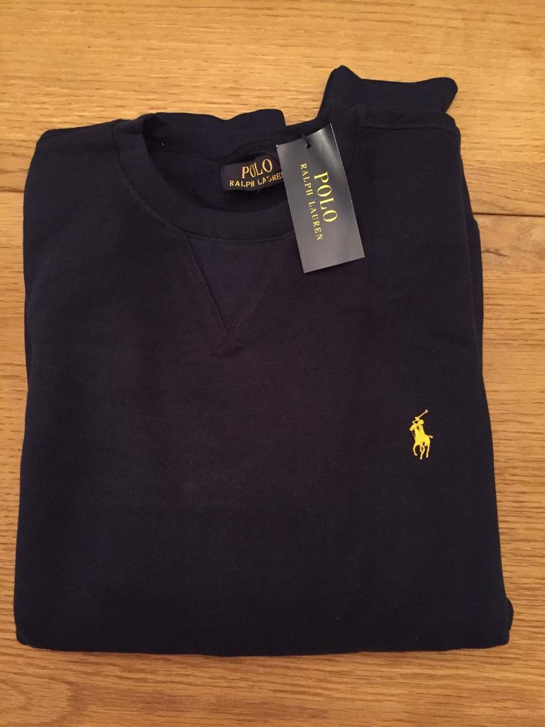 Mens Polo Ralph Lauren Cotton Long Sleeve Jumper Sweater RRP£115 colour-Black/Navy Size-Small to 2XL