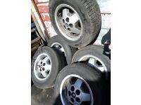 """Jaguar 15"""" Starfish alloy wheels x5 (off 1984 XJS)"""