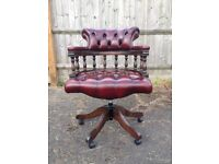 Chesterfield captains chair in red oxblood leather, in great condition