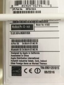 "NEW/SEALED APPLE MACBOOK PRO RETINA 13.3""-2.9GHz-3.3GHz 8GBRAM 512GBSSD MF841B/A"