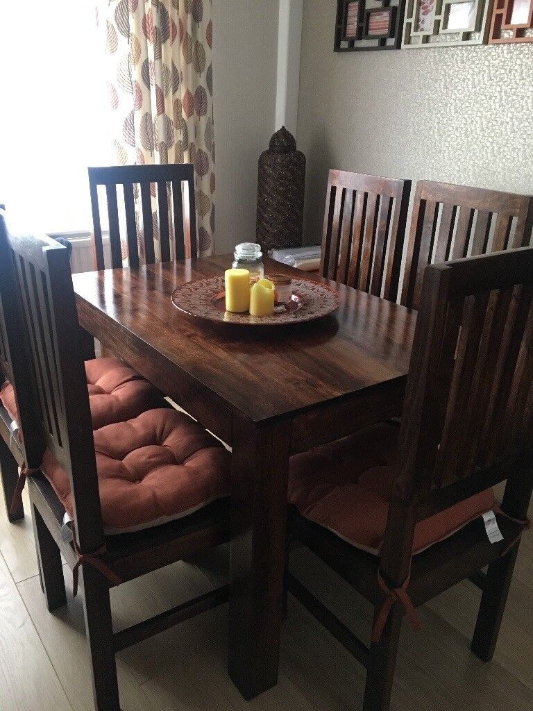 Solid Wood Dining Table 6 Chairs And Sideboard