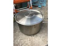 Large stainless steel cooking pot