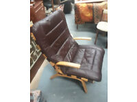 vintage retro Danish bentwood mid century brown leather armchair lounge chair