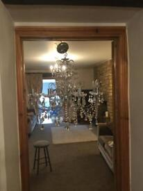Beautiful Large chrome and glass chandelier