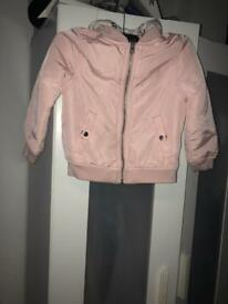 H&M kids pink bomber jacket with grey hood
