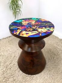 Funky Retro Eames Style dark wood stool side table with decorative top