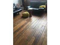 Reclaimed oiled teak boards approximately 7 m sq.