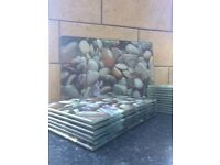 Glass place mats, coasters & larger central placement, stone effect.