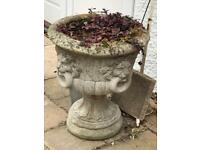 Concrete Pots/Urns. Weathered x 2