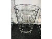 USED CHROME PLATED DUMP BINS LARGE ADJUSTABLE BOTTOM ON WHEELS