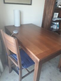 Dark Brown Wooden Table, Bench and Chairs