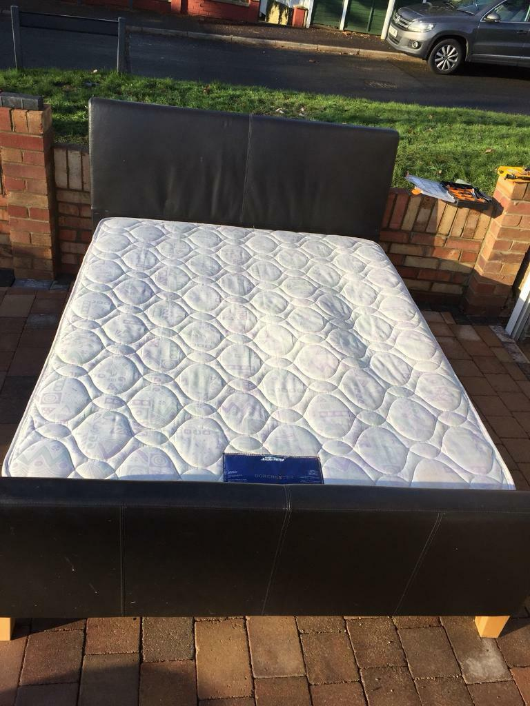 Leather king size bed with quality mattress