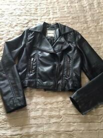 GIRLS BLACK SOFT LEATHER LOOK JACKET
