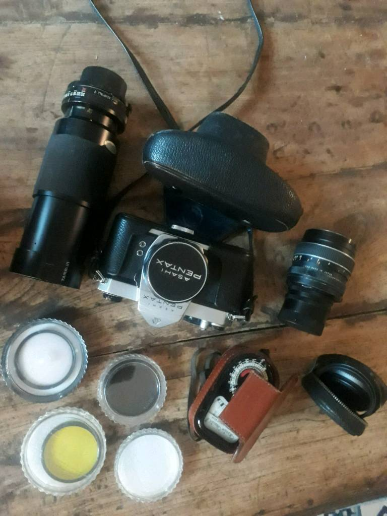 Asahi Pentax vintage 35mm camera with lenses and other accessories