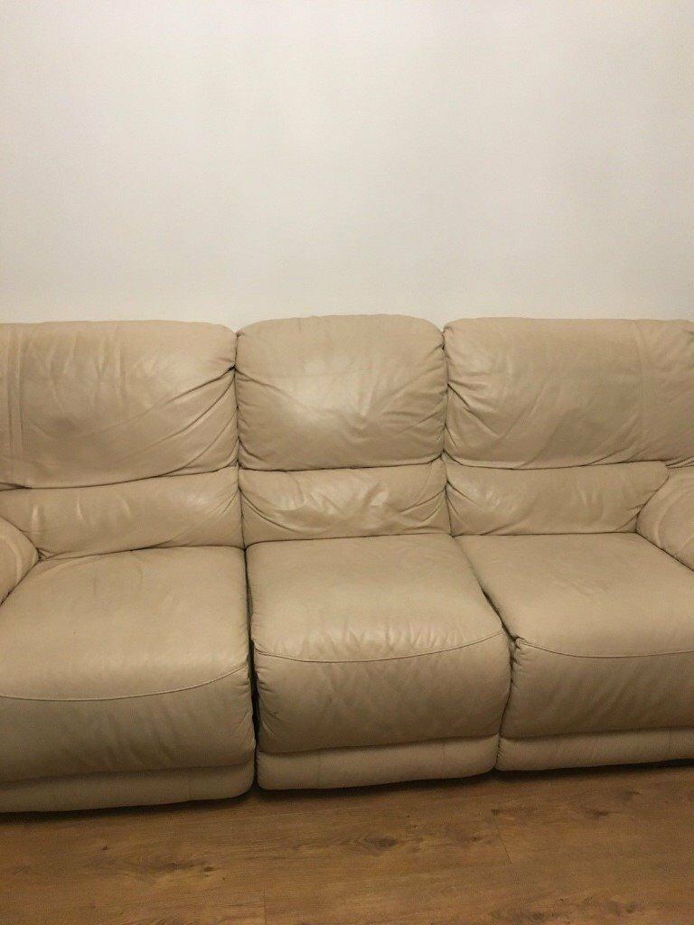 Dfs cream leather recliners 321 seater sofas must go asap dfs cream leather recliners 321 seater sofas must go asap parisarafo Image collections
