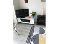 White & chrome TV stand