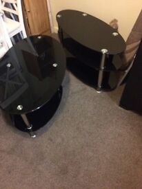 Black and chrome coffee table and tv stand