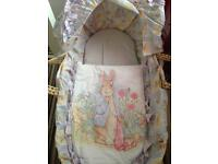 Peter rabbit mothercare Moses basket with mothercare wooden stand
