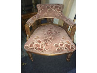 Beautiful Victorian Upholstered Carved Back Ladies Tub Chair