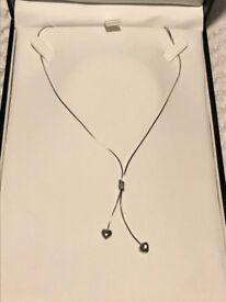 Ernest Jones 9ct white gold heart necklace