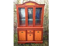 Large Beautiful Living/Dining Room Oak Rosewood Colour Glass Display Unit Cabinet