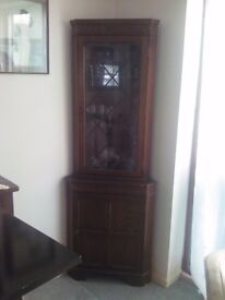 Dark Wood (?Oak) corner cupboard