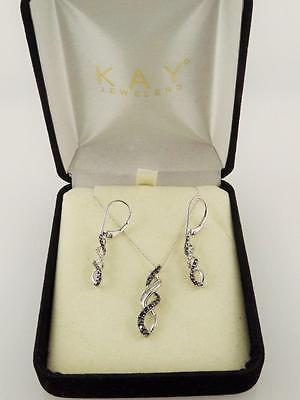 Kay Jewelers !!! 10K White Gold Black & White Diamond  Earrings & Necklace Set