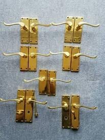 7 pairs (14 handles) gold brass scroll door handles