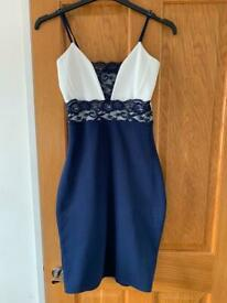Quiz blue and white lace ladies dress size 8