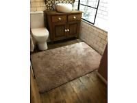 Dusky pink thick pile rug