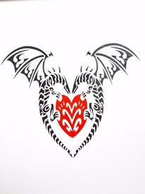 Gothic Heart Tattoo - Hand painted