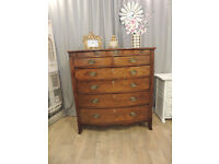 Antique Bow Fronted Victorian Mahogany Chest of Six Drawers