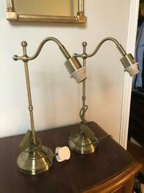 Pair of Brushed Brass Lamps